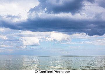 dark blue rain clouds over Sea of Azov - natural background...