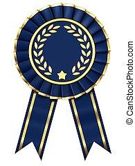 Dark blue ribbon award  isolated on white background.