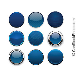 Dark-blue round high-detailed modern web buttons. - Set of...