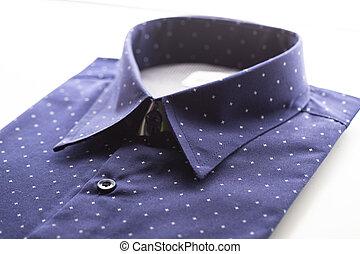 dark blue shirt on the white background