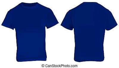 Dark Blue Shirt Template - Vector illustration of blank dark...