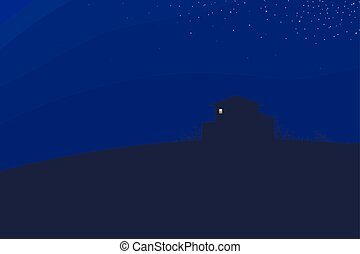 dark blue sky night landscape house on a hill dark contour bushes branches and bright light to a rectangular box vector illustration