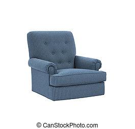 Dark blue soft armchair isolated on white