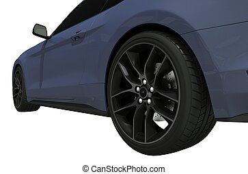 Sports Car Side View Isolated