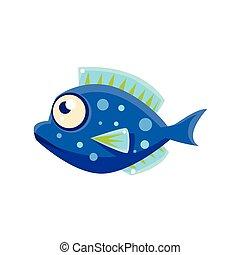 Dark Blue Spotted Fantastic Aquarium Tropical Fish Cartoon Character