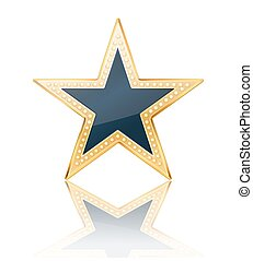 dark blue star with golden frame on white