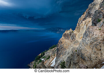 Dark Blue Storm Clouds Over Crater Lake