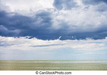 dark blue storm clouds over Sea of Azov, Temryuk bay,...