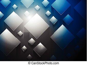 Dark blue tech 3d cubes vector background