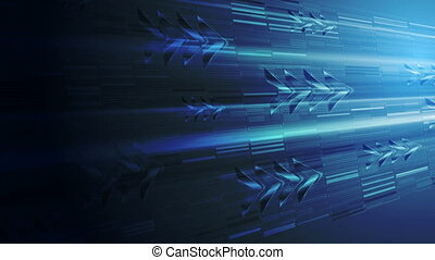 Dark blue technology animated background with arrows