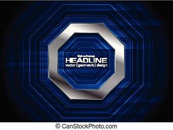 Dark blue technology background with metallic octagon