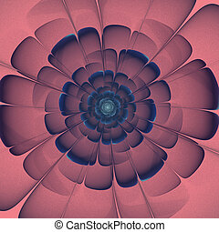 dark blue transparent 3d fractal abstract flower