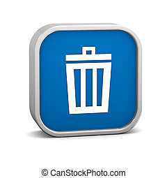 Dark Blue Trash Bin Sign