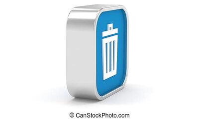 Dark Blue Trash Bin Sign - Dark Blue trash bin sign on a...