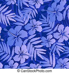 Dark blue tropical flowers seamless pattern