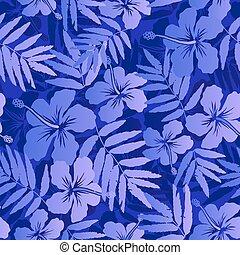Dark blue tropical flowers seamless pattern