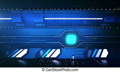 """Dark blue tunnel ride"" - ""Futuristic 3d rendering of a dark..."