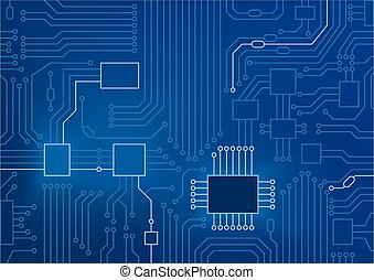 Dark blue vector illustration of circuit board / CPU close up as concept for digital transformation.