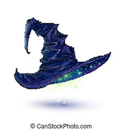 Dark blue vector witch hat isolated on white