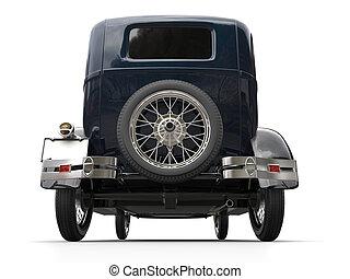 Dark blue vintage car - rear wheel shot