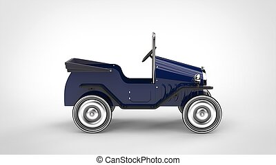 Dark blue vintage toy car - side view