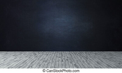 Dark blue wall like a blackboard and wooden floor for product and empty scene