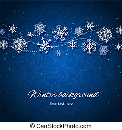 Dark blue winter vector background - Ornament with...