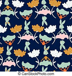Dark blue with bunny rabbits and whimsical flowers seamless pattern background design.