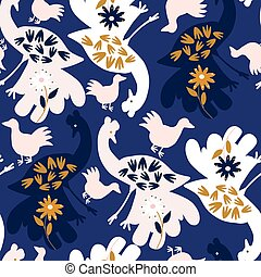Dark blue with Large birds with flowers seamless pattern background design.