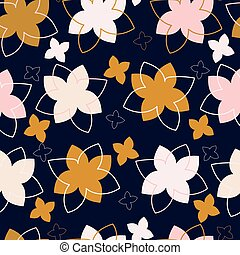 Dark blue with pink, brown and white large florals seamless pattern background design.
