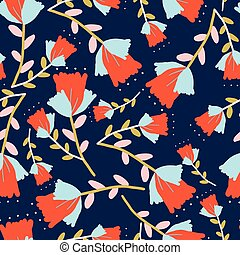 Dark blue with whimsical red flowers with light blue petals seamless pattern background design.