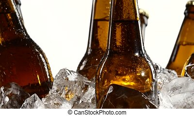Dark bottles of beer are in a container with ice pieces....