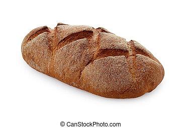 dark bread on white background isolated