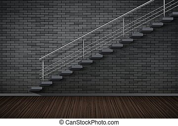 Dark brick wall and prison or loft interior - Dark brick...