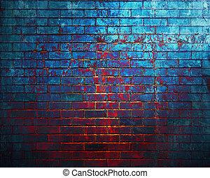 Dark brick wall background.