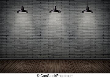 Dark Brick wall of prison - Interior of prison with black...