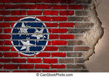 Dark brick wall with plaster - Tennessee - Dark brick wall...