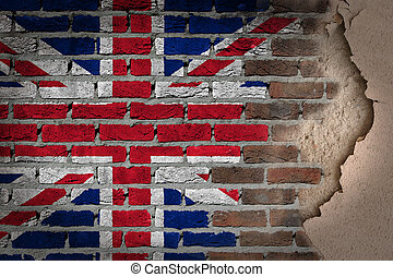 Dark brick wall with plaster - United Kingdom