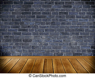 Dark bricks wall and old wooden floor.
