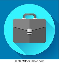 Dark Briefcase vector icon. Flat designed style