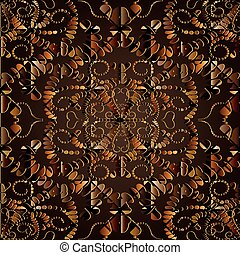 Dark brown abstract 3d floral vector seamless pattern.