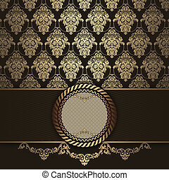 Dark brown and gold vintage background with frame.