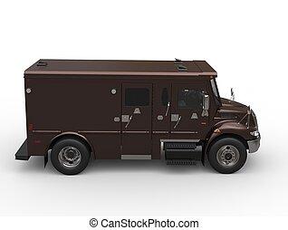 Dark brown armored transport van - top down side view