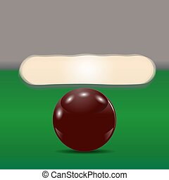 Dark brown ball on a billiard table. The cue ball in front of broken pyramid. illustration