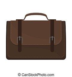 Dark brown briefcase. Vector illustration on a white background.