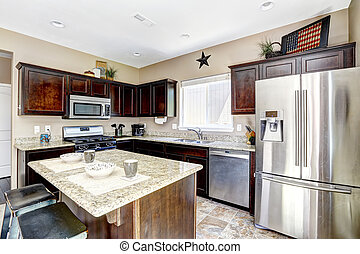 Dark brown cabinets with granite tops. Kitchen room interior