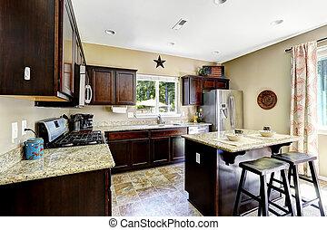 Dark brown cabinets with granite tops. Kitchen room interior