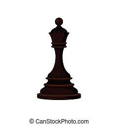 Dark brown chess piece - queen. Small wooden figure. Strategic board game. Flat vector icon