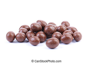 Dark brown dragee, in chocolate covered. White background.