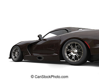 Dark brown fast race car - low angle side view cut shot